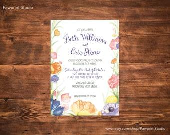 CUSTOM PRINTABLE Invitation: Watercolor Flowers Wedding Invitation (Customizable)