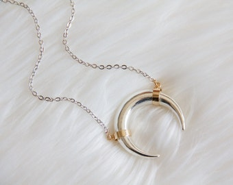 Crescent, Horn, Silver and Gold Necklace