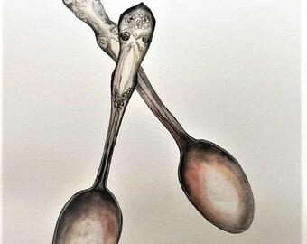 "Spoon Watercolor painting original 11""x14"""