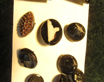 antique buttons, black glass assorted, some match