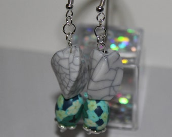 Turquoise and White Dangly Bead Earrings