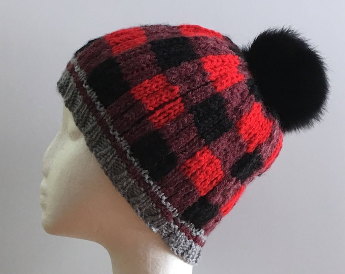 Junior 8-10 years old X-Small acrylic wool with recycled fur Pompom - knitted hat by hand