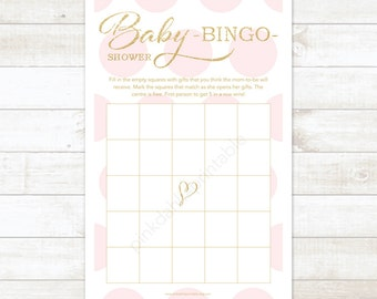 pink and gold baby shower bingo game card printable DIY pink and gold glitter baby shower games - INSTANT DOWNLOAD