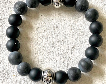 OM Chakra with Brazilian stone and Black stone beads