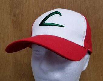 Ash Ketchum Hat Raised Logo L Baseball Cap Trainer Original Version Halloween Costume Best Quality Cosplay Go Embroidery Adult Men Gift Idea