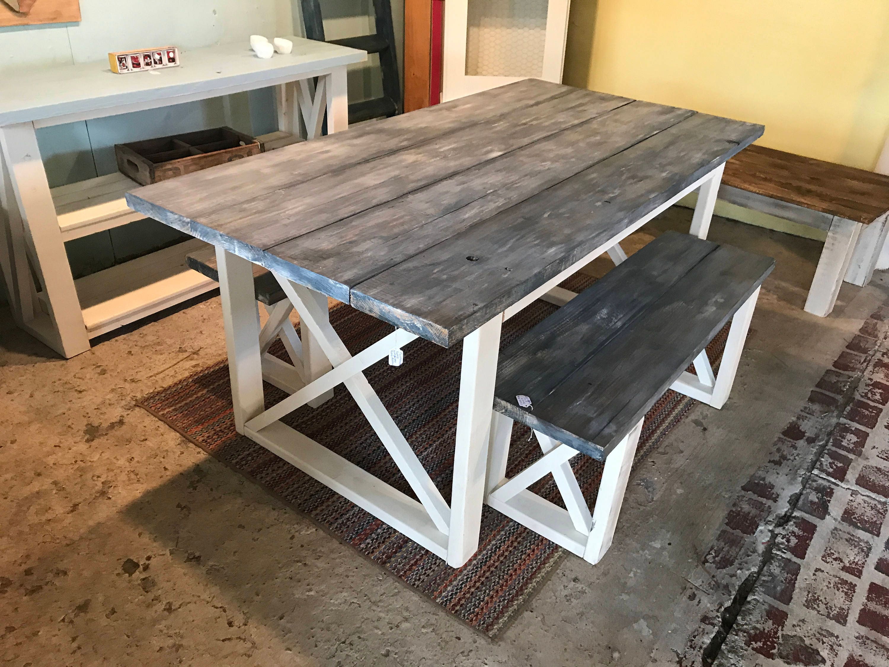 Rustic Farmhouse Table With Benches with White Wash Charcoal