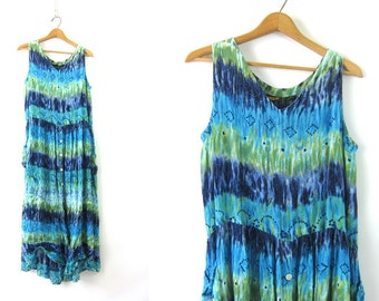 Tie Dyed Beach Dress Long Blue & Green 90s resort vacation Maxi Dress Oversized Button Front Crinkle Sundress Boho Chic Women's Medium