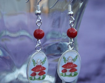The Playful Mushroom Nymph - Original Art Earrings with Red Coral.  Watercolor Painting by Victoria Chapman - Faerie Child