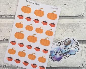 Pumpkin and coffee stickers for Erin Condren, Plum Paper, Filofax, Kikki K (DPD168)
