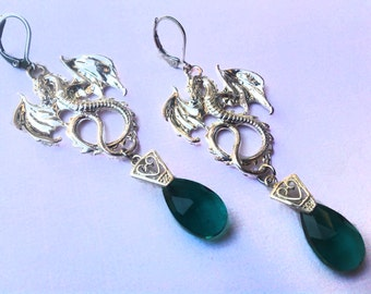 Dragons Earrings with Green Glass Crystal Drops, Dangle Earings, Chandelier, Stainless steel Hooks, Gift for Women