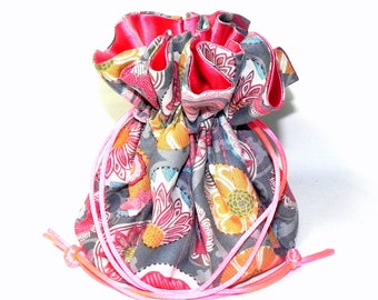 Jewelry Drawstring Travel Bag - Organizer Pouch - Grey, Orange, coral, red and orange floral fabric - Mothers Day gift idea