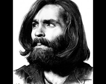 "Print 8x10"" - Charles Manson - Serial Killer Dark Art True Crime Horror Blood Death Murder Helter Skelter Cult Gothic Halloween Pop Beard"