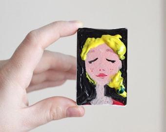 Mini Custom Portrait - Art Gift Idea for Her - Acrylics on Canva - Minimal Painitng