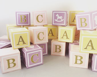 4.5 in Custom  Alphabet Blocks, Baby Shower Decorations, 4.5 inches x 4.5 inches x 4.5 inches