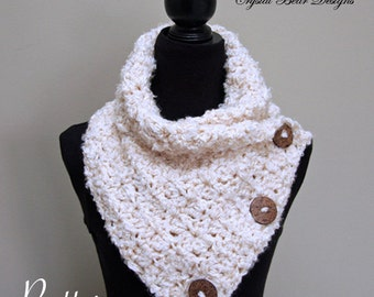 Crochet Scarf with Buttons PATTERN, Neck Warmer, Winter Scarf, Easy Pattern, Made in Canada