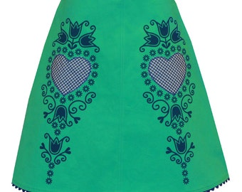 gingham gladness skirt - green & blue - cute folk flower print with appliqued gingham hearts