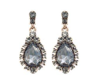 Swarovski crystal earrings, bridesmaids earrings, wedding jewelry, crystal earrings, boho earrings, gift for her,