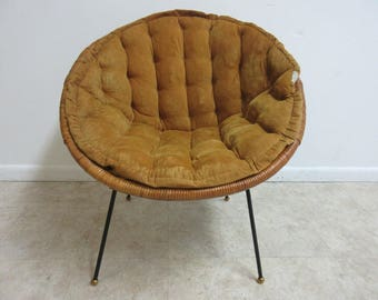 Vintage Mid Century Wicker X Hoop Lounge Egg Chair