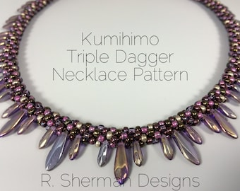 PDF Kumihimo Pattern - Kumihimo Triple Dagger Necklace