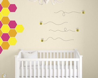 Honeycomb Wall Decals, Bee Wall Decals, Bumble Bee Wall Decals, Nursery Wall Decal, Bee Vinyl Decals, Honeycomb Decals