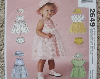 UNCUT Infants Dress, Hat and Panties - Size Small to XLarge - McCalls Pattern 2649