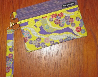 Wrist Strap Zippered Pouch Chrysanthemum and River Design Japanese Asian Fabric Yellow