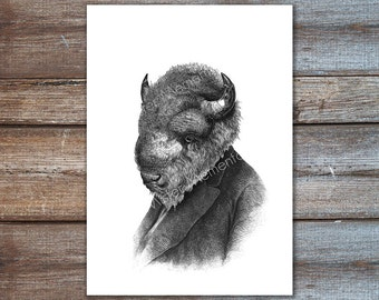 Buffalo art print, dressed animals poster