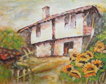 Impressionist oil painting landscape house