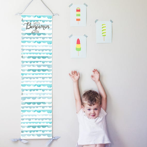 Watch Me Grow canvas growth chart with blue watercolor scallops