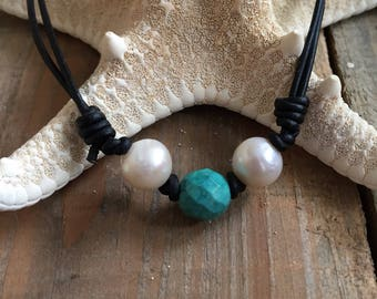 Pearl and Turquoise Choker Necklace, Turquoise Pearl Necklace, Freshwater Pearl and Black Leather Choker