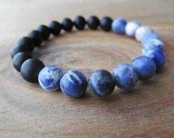 Sodalite and Matte Black Onyx Bracelet, Gemstone Bracelet, Stacking Bracelet, Layering Bracelet, Beaded Bracelet, Gift for Men