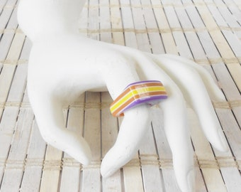 Vintage Striped Gumball Ring, Purple Orange Yellow, Layered Lucite, Finger Candy, Size 7, Plastic Statement ring, 1970's style, Kawaii Cute