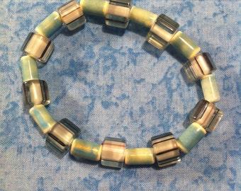 Cane Glass Stretch Bracelet - Aqua