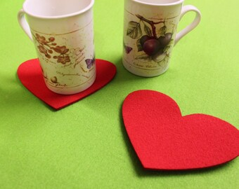 Eco Friendly Hearts Shape Felt Coasters Set of 2