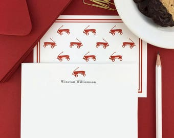 Kids Stationery Set, Kids Stationery Personalized, Kids Stationery, Kids Personalized Note Cards, Stationery Set, Red Wagon,  Set of 10
