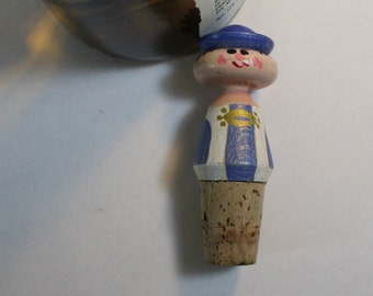Carved Wooden Hungarian Sailor Bottle Cork, Vintage