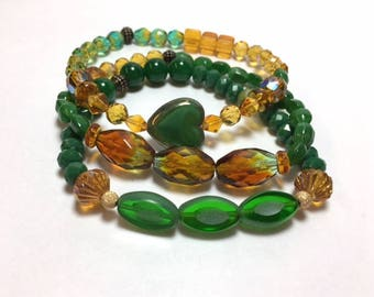 Packers Green and Gold Set of 3 Stretch Bracelets