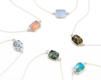 Silver Gem Slice Connector Necklace, Gemstone Choker, Layering Necklace, Gift for Her, Simple Genuine Gemstone Necklace, Birthstone Jewelry
