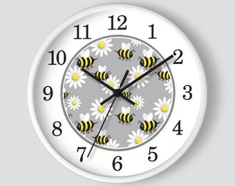 Happy Bee Daisy Wall Clock - Pattern in Yellow and White with Wood Frame - 10-inch Round Clock - Made to Order