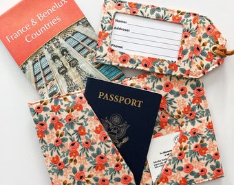 Rifle Paper Co Les Fleurs Luggage Tag Passport Cover Travel Set for Her, Destination Wedding Favor, Honeymoon Travel Gift, Wanderlust Gift