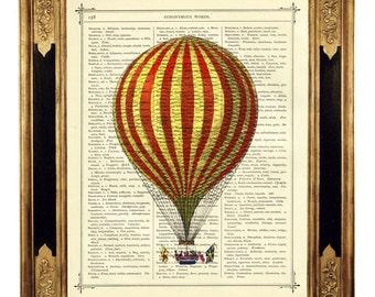 Airship Hot Air Balloon Circus Stripes III - Vintage Victorian Book Page Art Print Steampunk