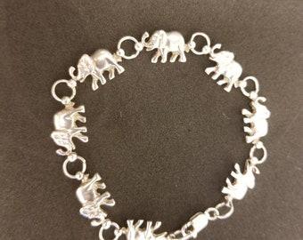 925 sterling silver elephant bracelet, women's