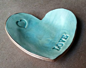 Ceramic Heart Ring Dish Pale Sea green edged in gold