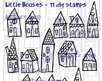 Little Houses - 11 digi stamp bundle in jpg and png files for instant download