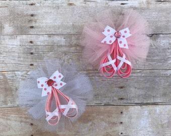 Ballet Slippers Hair Bow // Ballet Tutu Bow // Ballet Slipper Clip // Ballet Hairbow // Ballet Bow // Pink Ballet Slippers // Toddler Clip