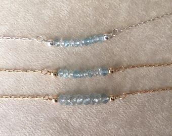 Aquamarine necklace/ moss aquamarine necklace/ gemstone necklace/ beaded bar necklace/ birthstone necklace