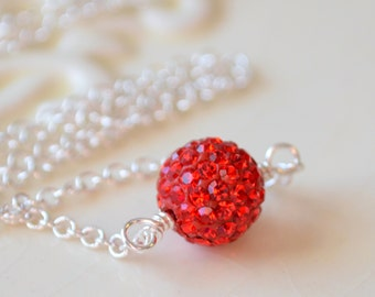 Bright Red Crystal Necklace, Christmas Jewelry, Silver Plated Chain, Pave Bead, Wire Wrapped, Simple Choker, Holiday Jewelry