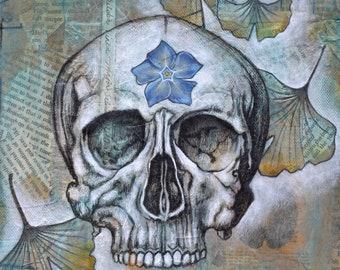 Human skull,anatomical art,charcoal,medicinal plants,drawing,flora,botanical,flowers,fauna,mixed media,fine art,prints,dia de los muertos