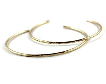 Gold Hammered Cuff You Choose/ Gold Filled Textured Bracelet/ 14k Gold Fill layering stacking cuff/ Jewellery Vancouver Island Canada
