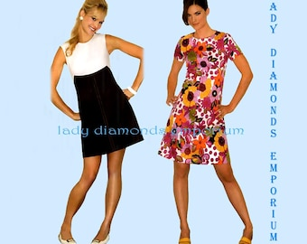Simplicity 3833 Womens 1960s Retro Style A-line Dress sz 14 16 18 20 22 Bust 36 38 40 42 44 Average to Plus Size Sewing Pattern New Uncut FF